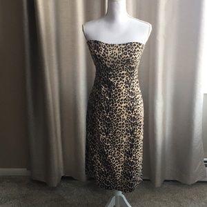 Leopard print vintage style midi dress